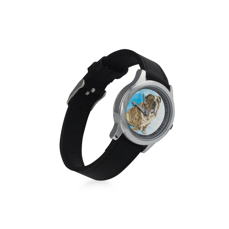 English Bulldog Water Colour No.1 Kid's Stainless Steel Leather Strap Watch - TeeAmazing