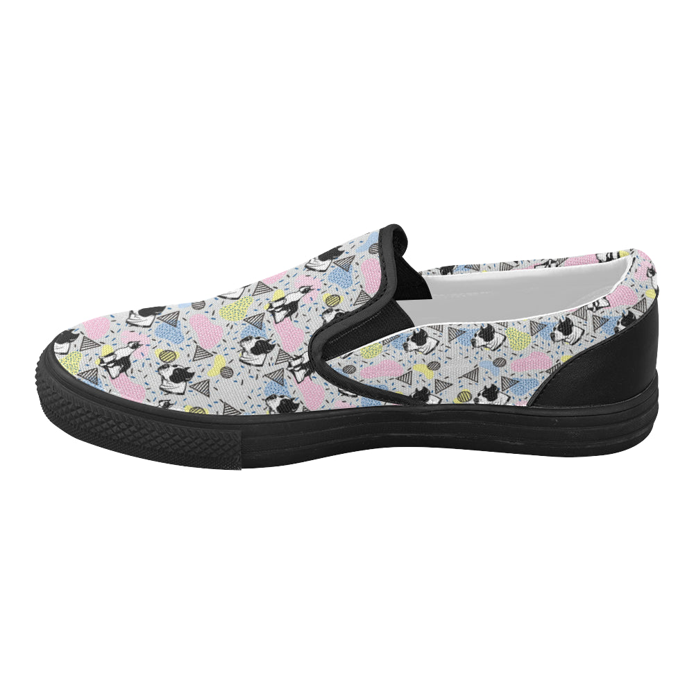 American Staffordshire Terrier Pattern Black Women's Slip-on Canvas Shoes - TeeAmazing