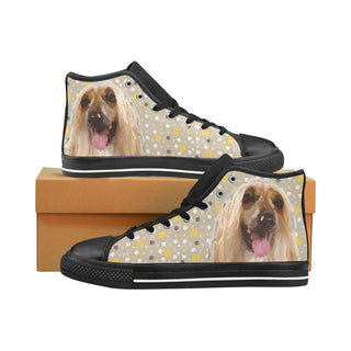 Afghan Hound Black Men's Classic High Top Canvas Shoes /Large Size - TeeAmazing