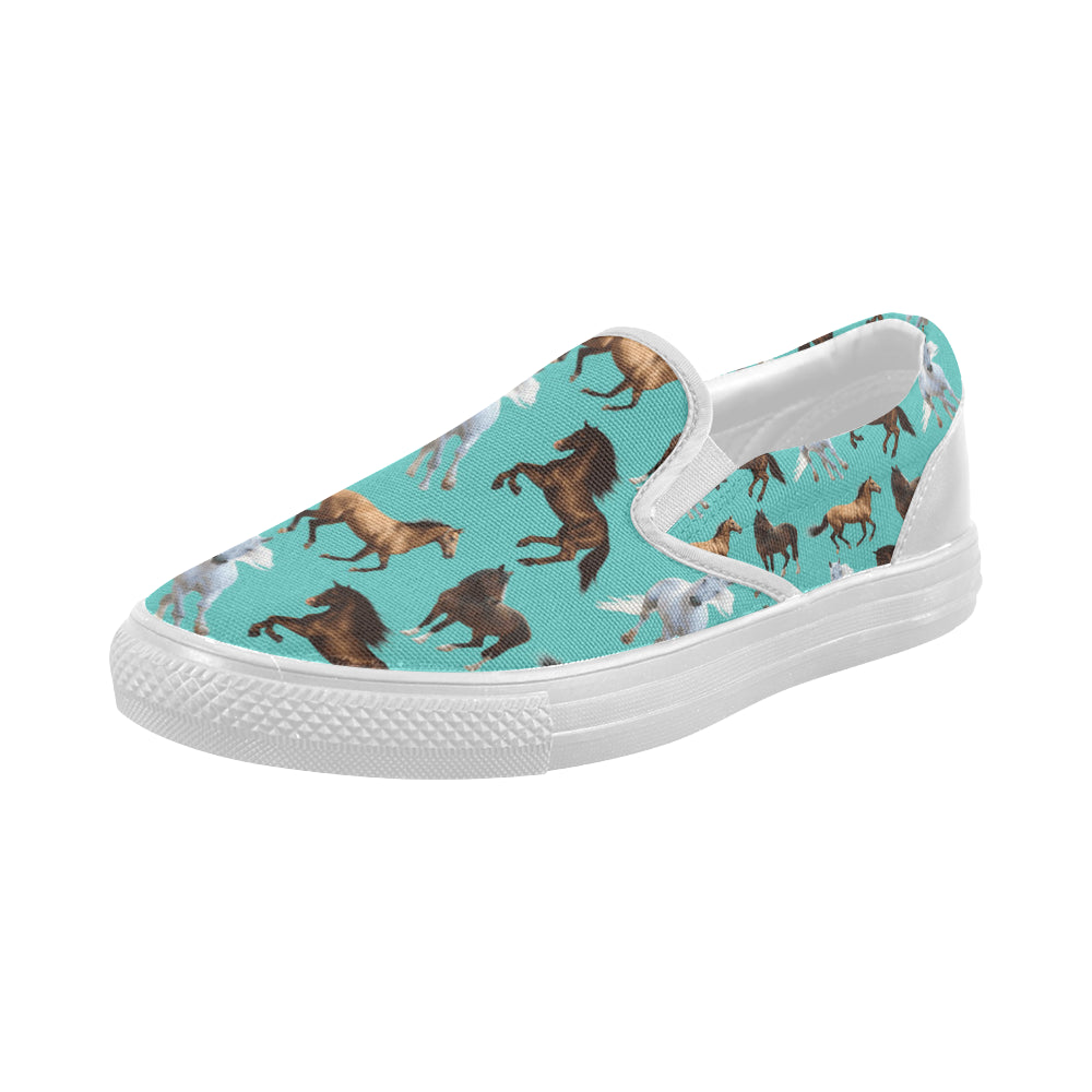 Horse Pattern White Women's Slip-on Canvas Shoes - TeeAmazing