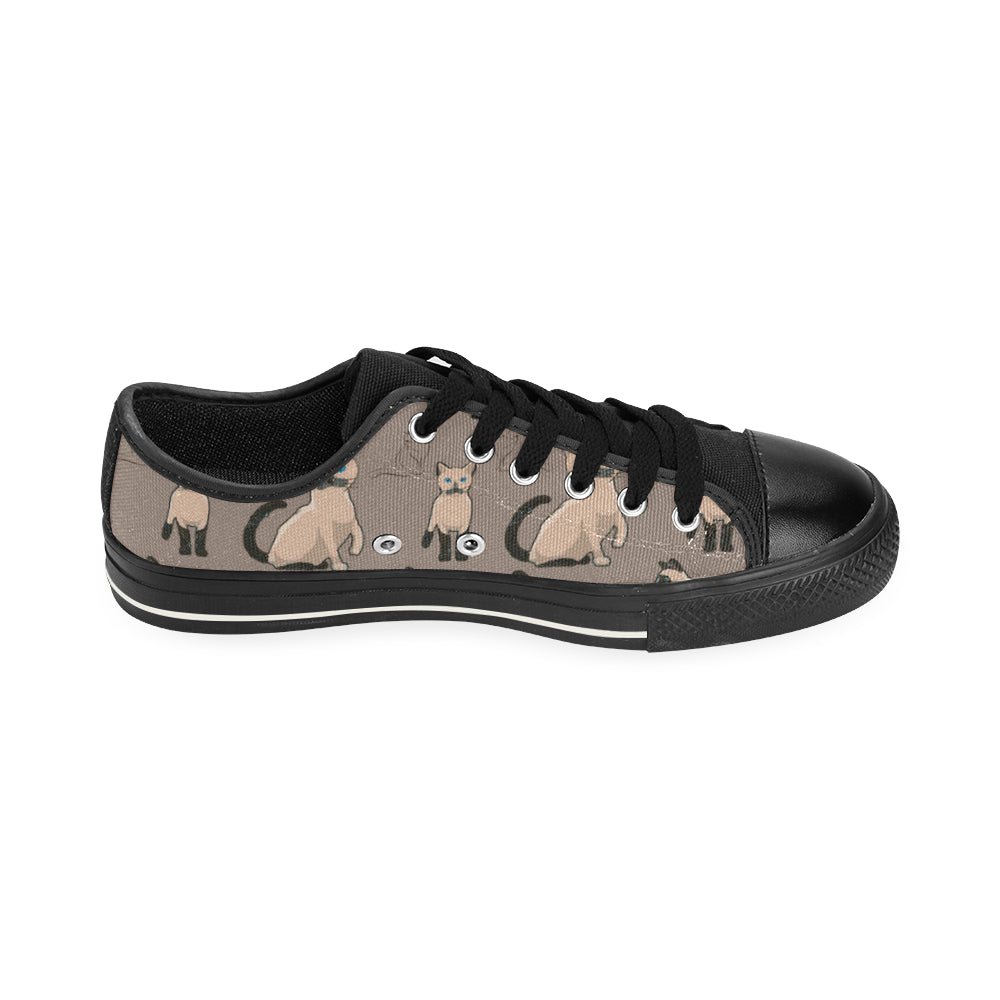 Tonkinese Cat Black Low Top Canvas Shoes for Kid (Model 018) - TeeAmazing