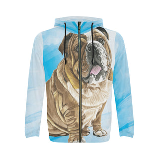English Bulldog Water Colour No.1 All Over Print Full Zip Hoodie for Men - TeeAmazing