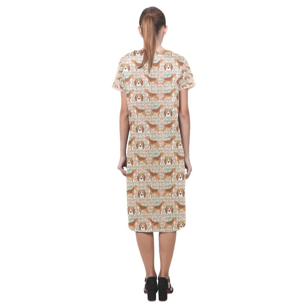 Beagle Pattern Short Sleeves Casual Dress - TeeAmazing