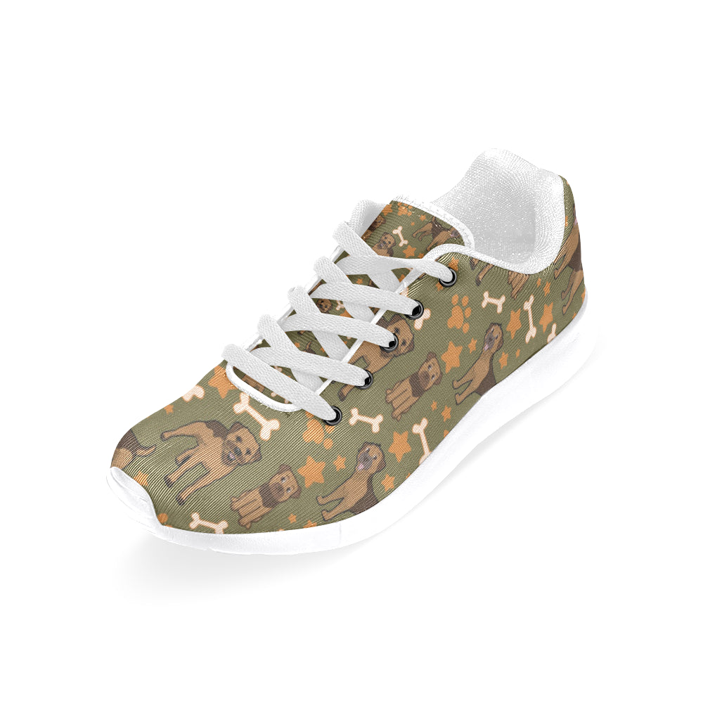 Border Terrier Pattern White Sneakers for Women - TeeAmazing