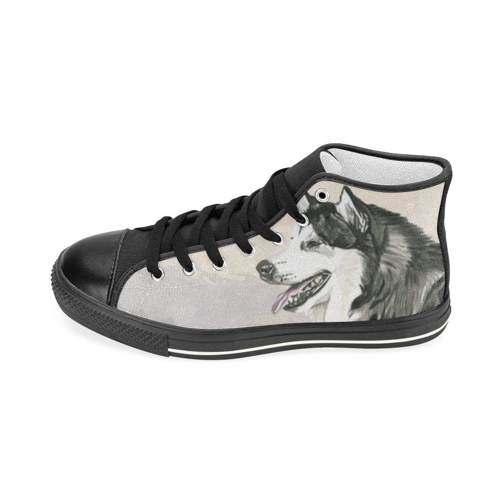 Alaskan Malamute Water Colour Black Women's Classic High Top Canvas Shoes (Model 017) - TeeAmazing