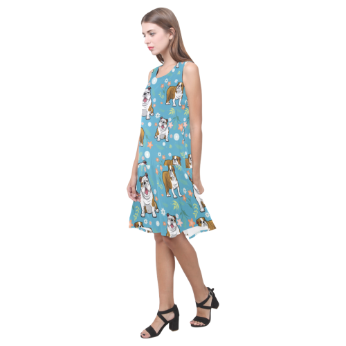 English Bulldog Flower Sleeveless Splicing Shift Dress - TeeAmazing