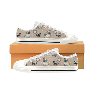 Pug Flower White Low Top Canvas Shoes for Kid (Model 018) - TeeAmazing