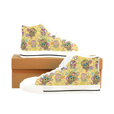 Sugar Skull White Men's Classic High Top Canvas Shoes /Large Size (Model 017) - TeeAmazing