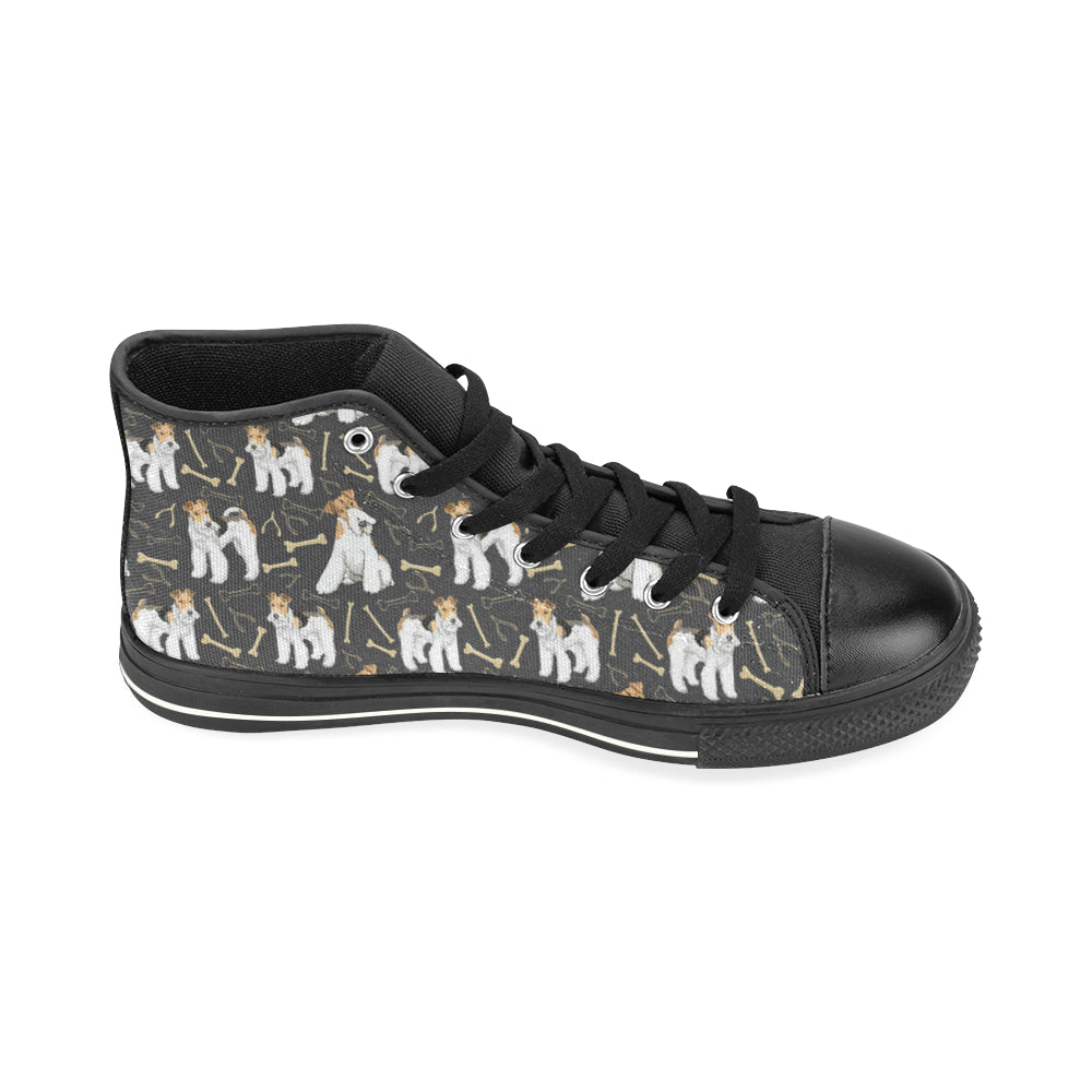 Wire Hair Fox Terrier Black High Top Canvas Women's Shoes/Large Size - TeeAmazing