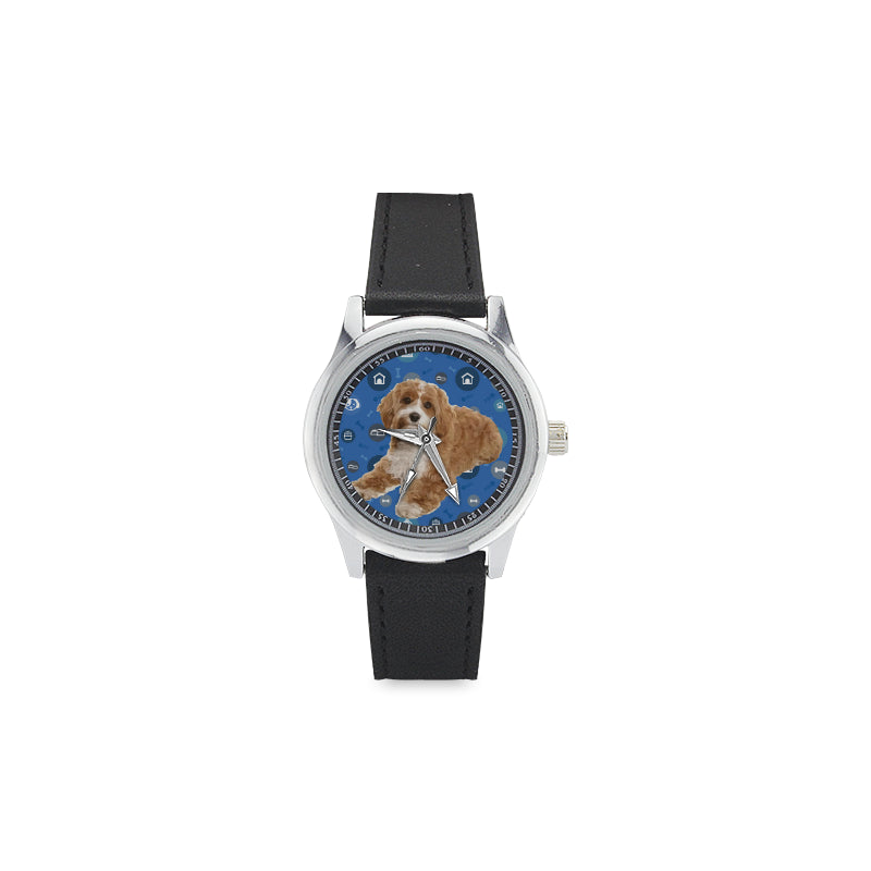 Cavapoo Dog Kid's Stainless Steel Leather Strap Watch - TeeAmazing