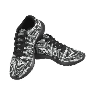 Biker Engine Black Sneakers for Men - TeeAmazing