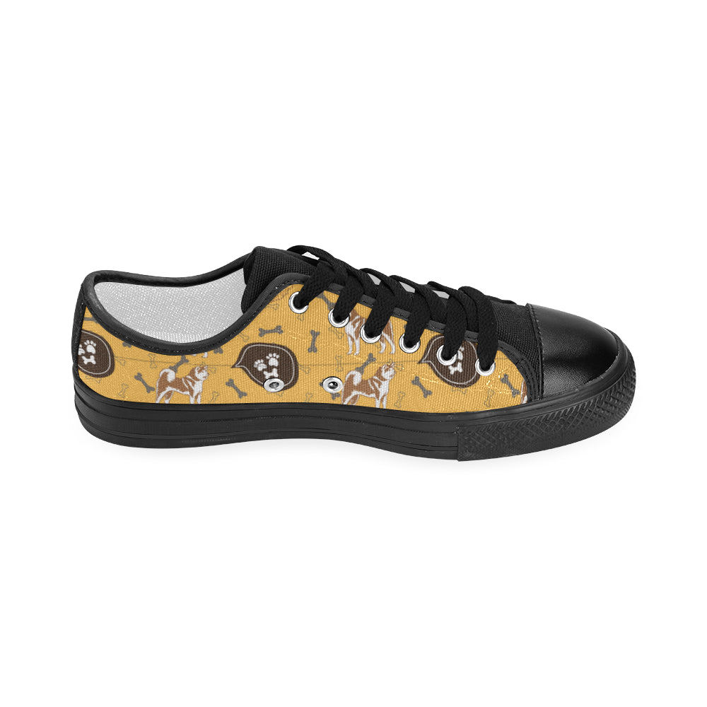 Akita Pattern Black Women's Classic Canvas Shoes - TeeAmazing