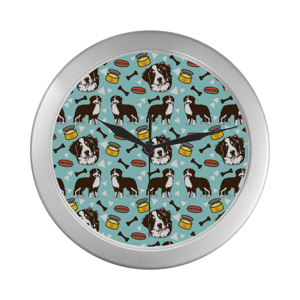 Bernese Mountain Pattern Silver Color Wall Clock - TeeAmazing