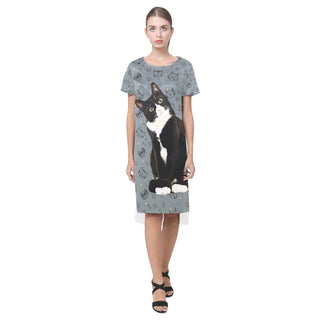 Tuxedo Cat Short Sleeves Casual Dress - TeeAmazing
