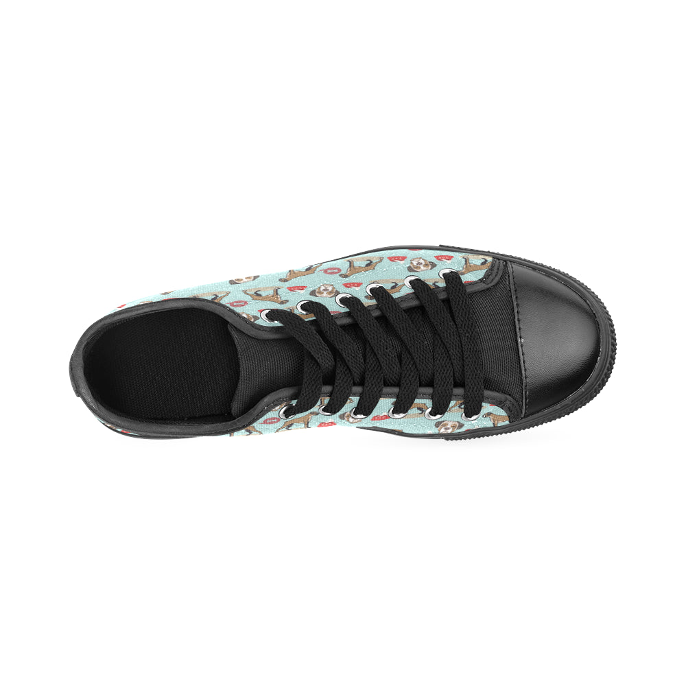 Boxer Pattern Black Canvas Women's Shoes (Large Size) - TeeAmazing