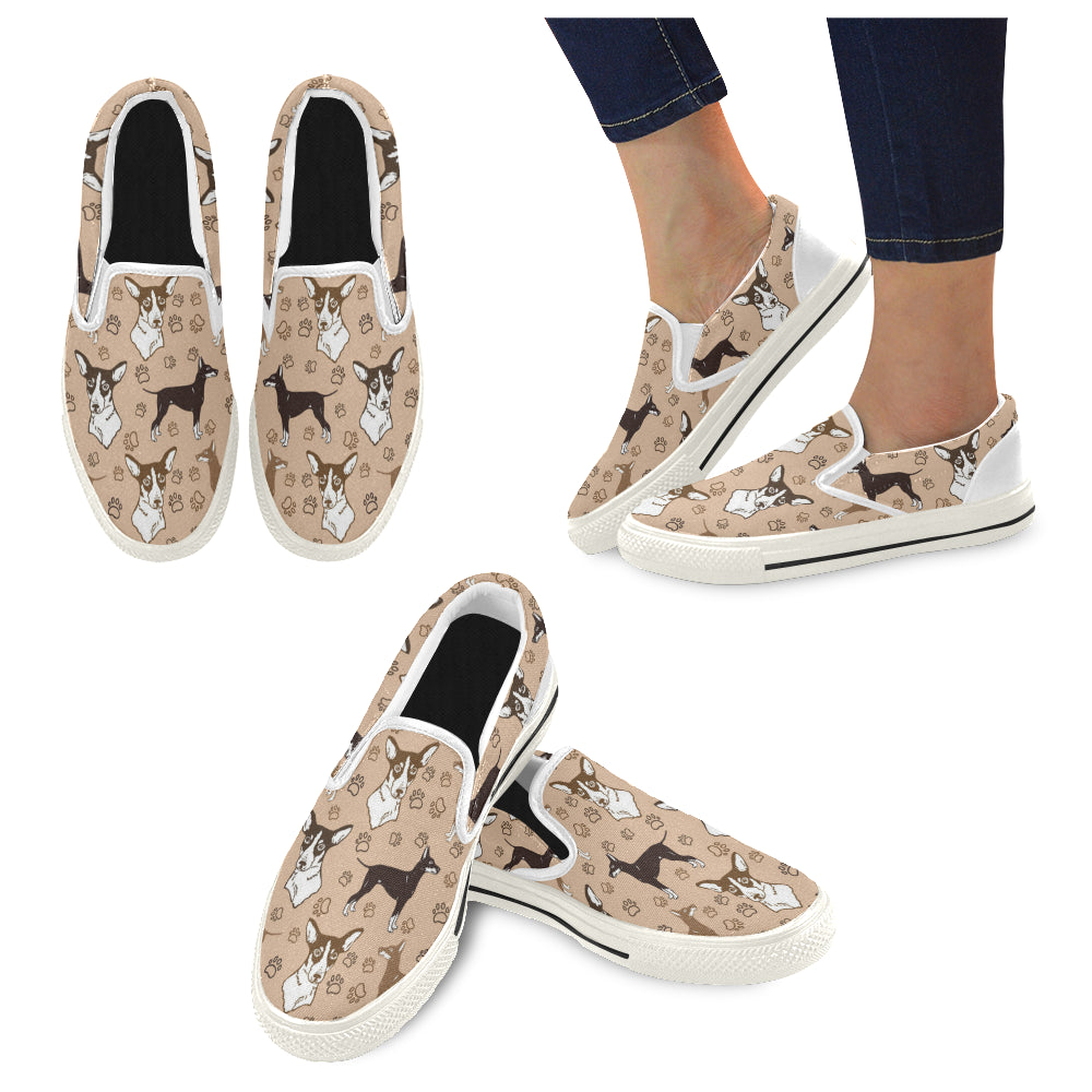 Manchester Terrier White Women's Slip-on Canvas Shoes/Large Size (Model 019) - TeeAmazing