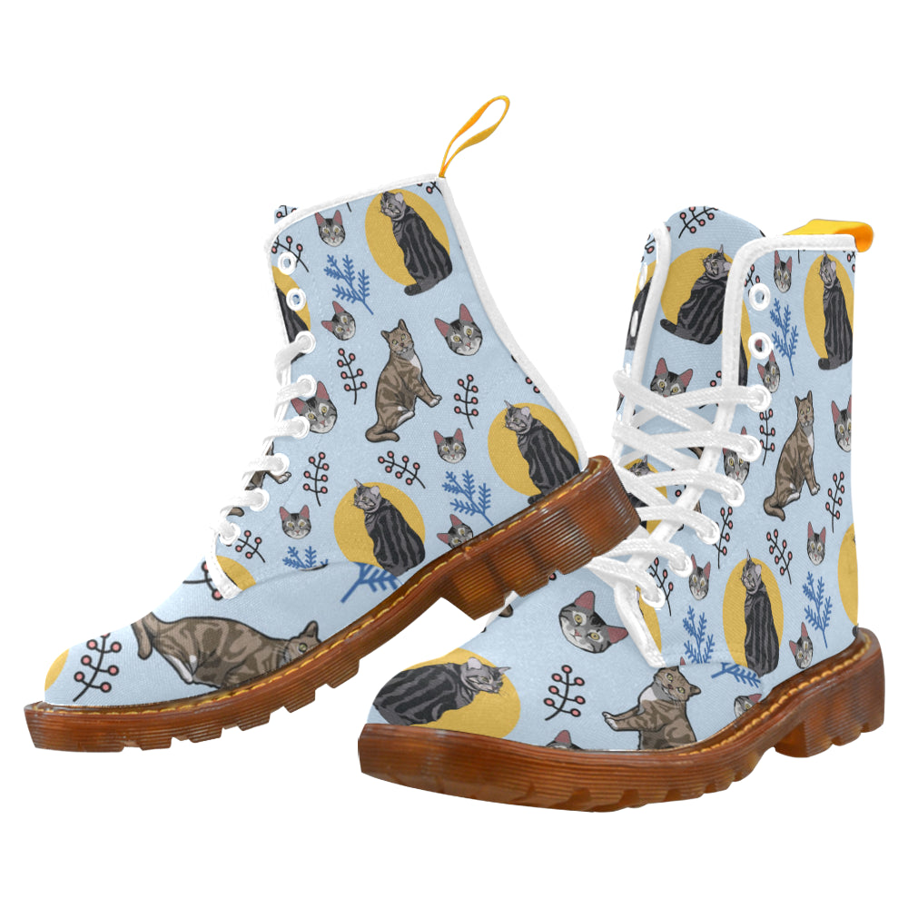 American Shorthair White Boots For Men - TeeAmazing