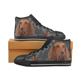 Dachshund Lover Black High Top Canvas Women's Shoes/Large Size - TeeAmazing