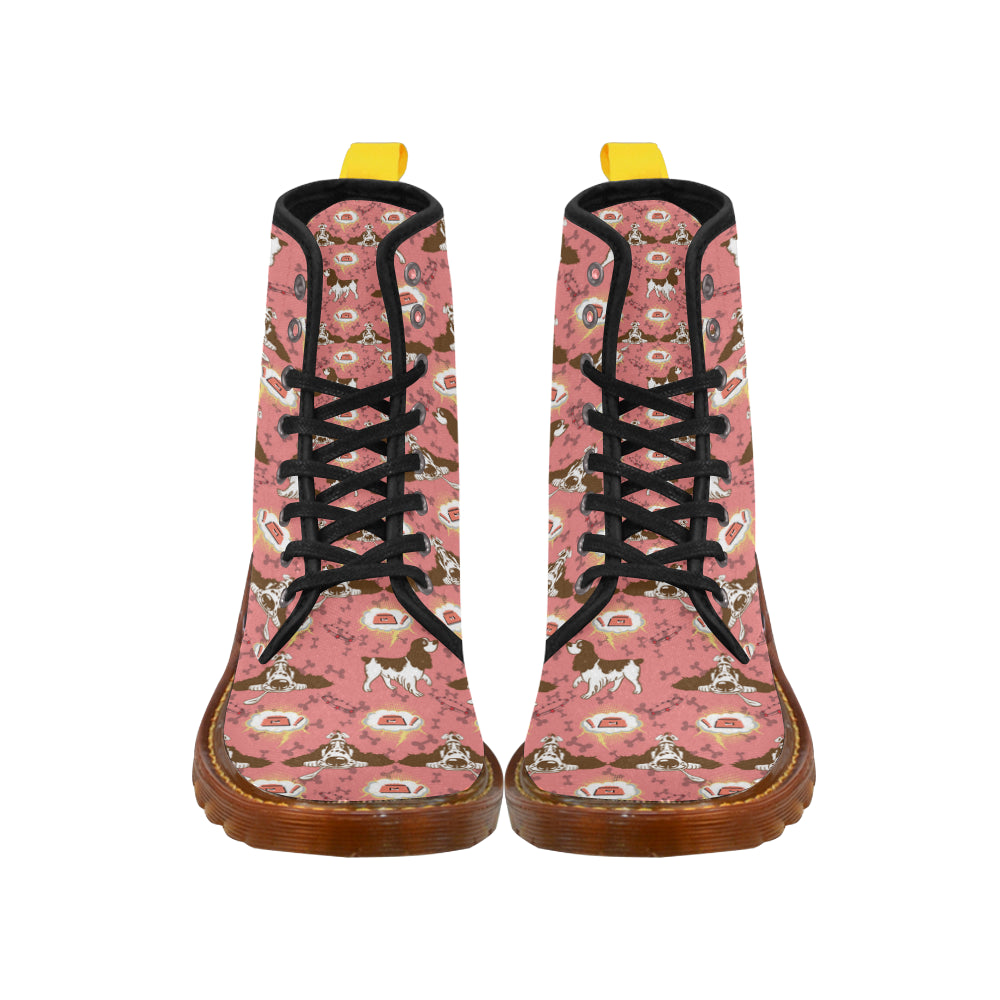 English Cocker Spaniel Pattern Black Boots For Women - TeeAmazing
