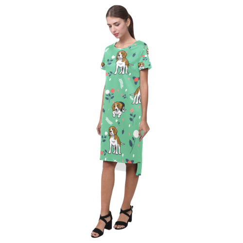 Beagle Flower Short Sleeves Casual Dress - TeeAmazing