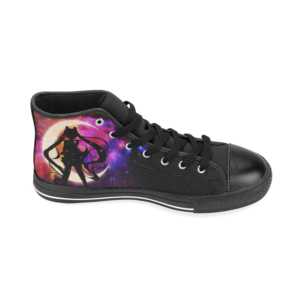 Sailor Moon Black High Top Canvas Women's Shoes (Large Size) - TeeAmazing
