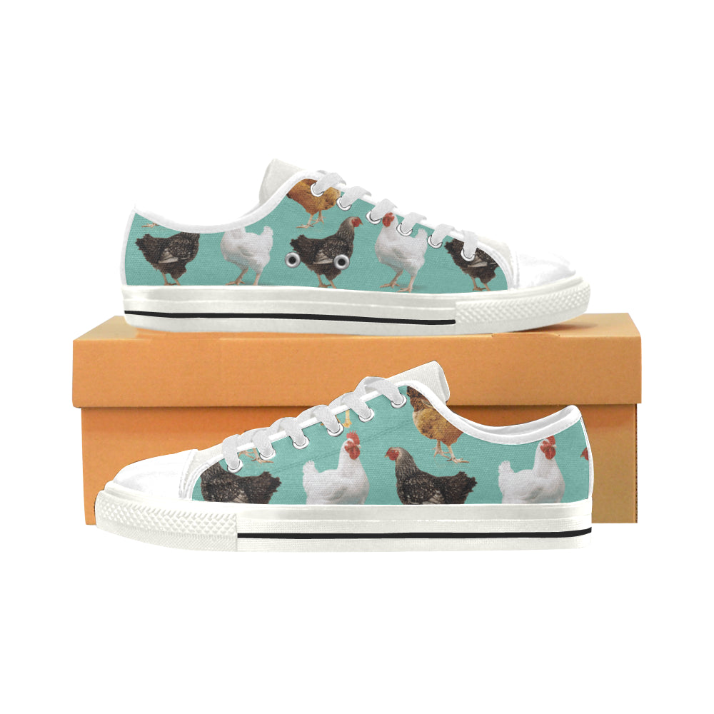 Chicken Pattern White Low Top Canvas Shoes for Kid - TeeAmazing