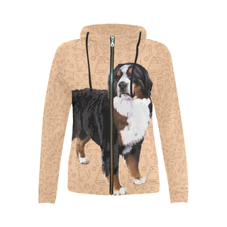 Bernese Mountain All Over Print Full Zip Hoodie for Women - TeeAmazing