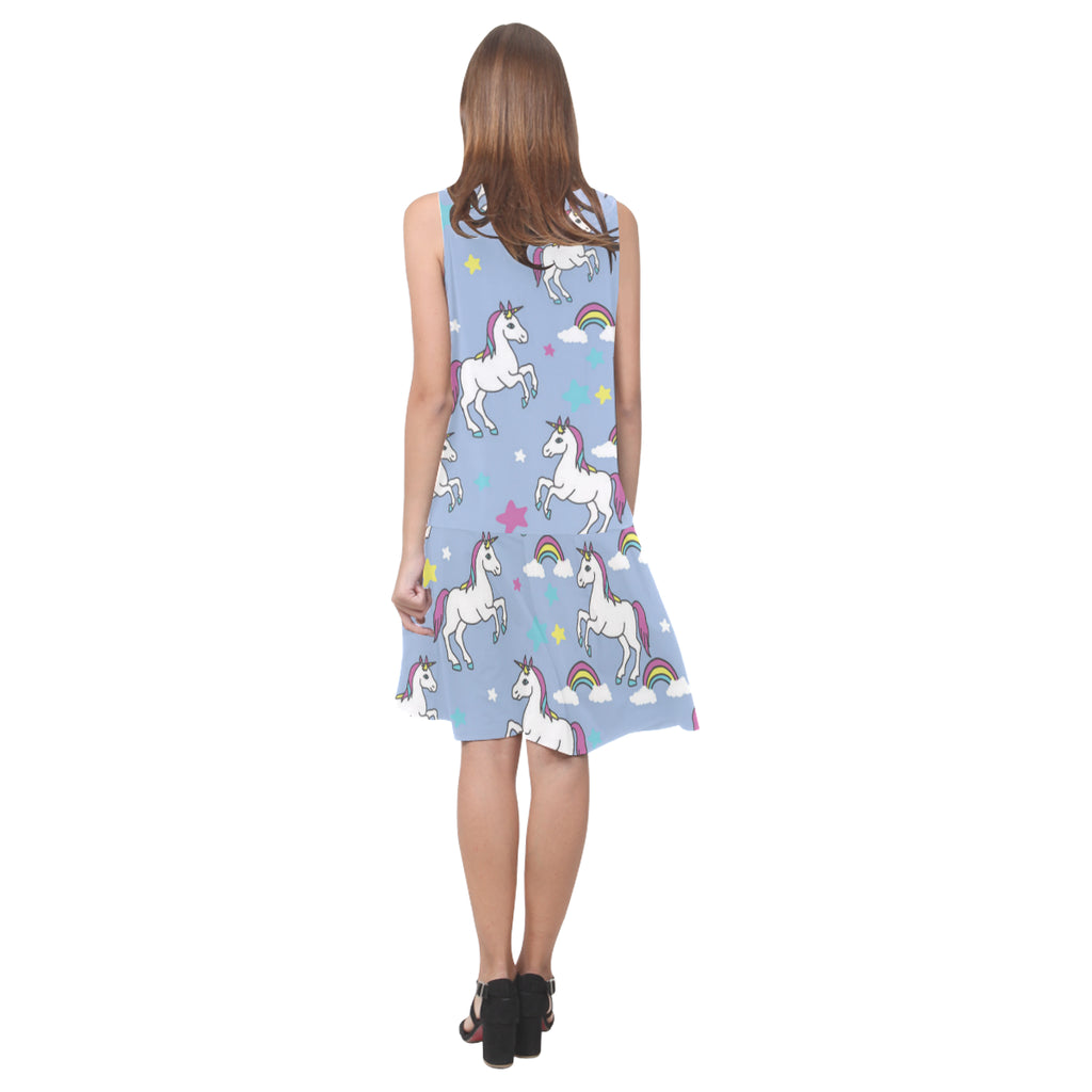 Unicorn Pattern Sleeveless Splicing Shift Dress - TeeAmazing