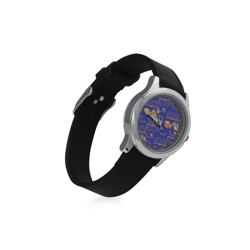 Book Pattern Kid's Stainless Steel Leather Strap Watch - TeeAmazing