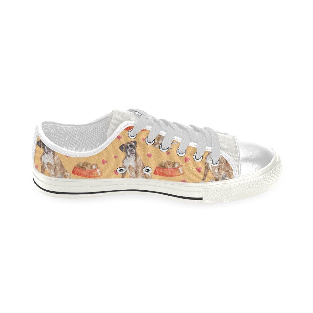 Boxer Water Colour Pattern No.1 White Low Top Canvas Shoes for Kid - TeeAmazing