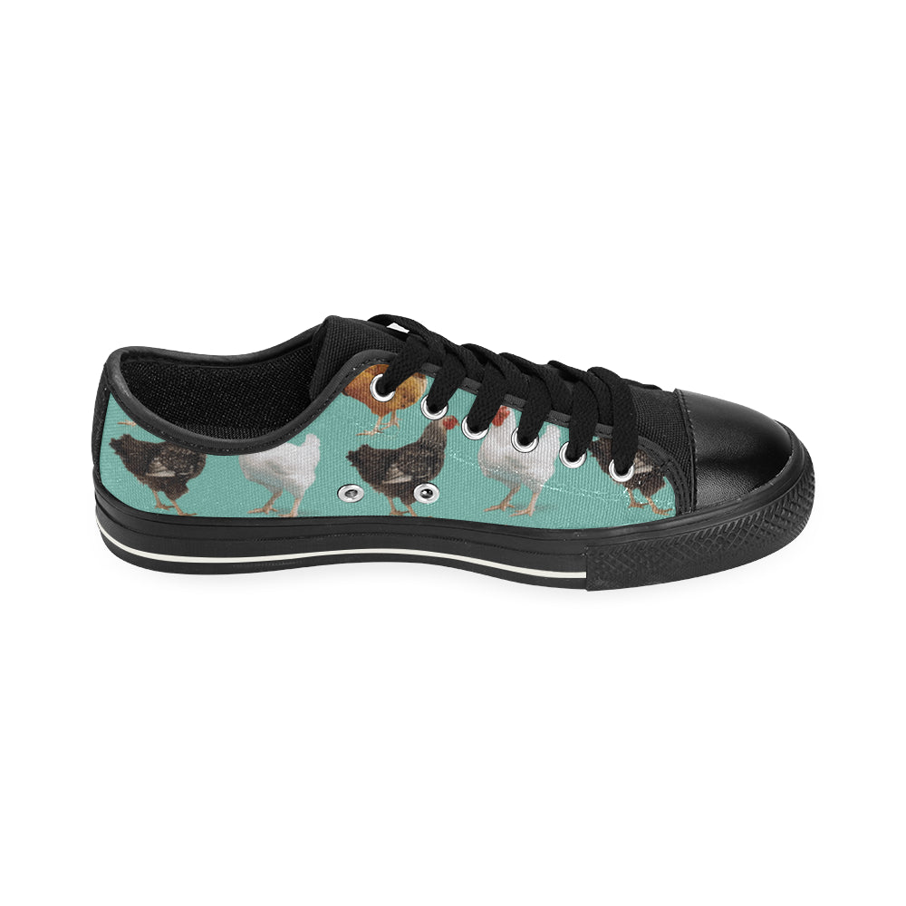 Chicken Pattern Black Low Top Canvas Shoes for Kid - TeeAmazing
