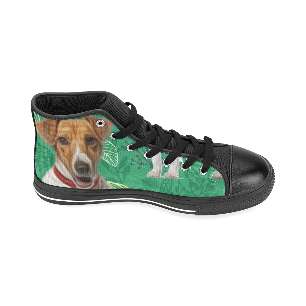 780ddc6ed09 ... Jack Russell Terrier Lover Black High Top Canvas Women s Shoes Large  Size - TeeAmazing ...