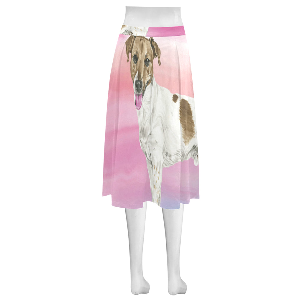 Jack Russell Terrier Water Colour No.1 Mnemosyne Women's Crepe Skirt (Model D16) - TeeAmazing