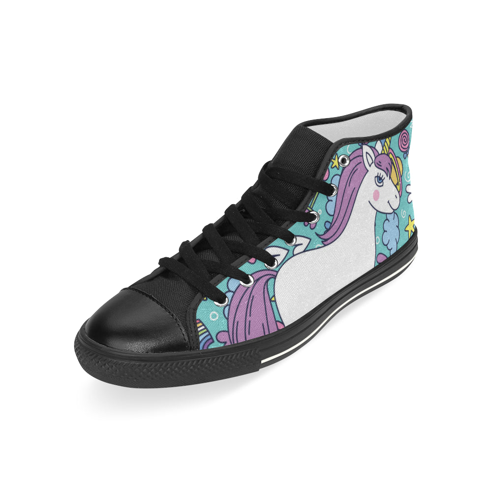 Unicorn Black Men's Classic High Top Canvas Shoes - TeeAmazing