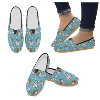 English Bulldog Flower Women's Casual Shoes - TeeAmazing