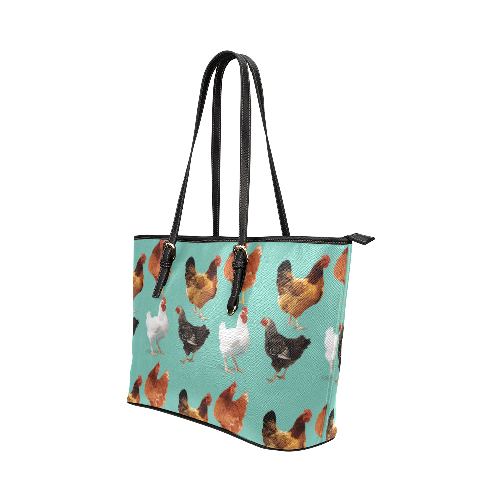 Chicken Pattern Leather Tote Bag/Small - TeeAmazing