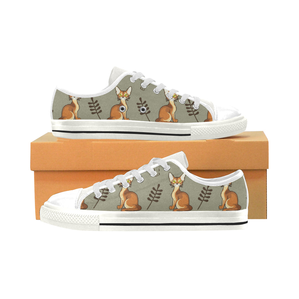 Abyssinian White Low Top Canvas Shoes for Kid - TeeAmazing