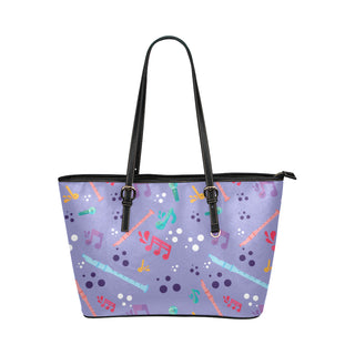 Flute Pattern Leather Tote Bag/Small - TeeAmazing
