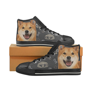 Shiba Inu Dog Black High Top Canvas Women's Shoes/Large Size - TeeAmazing