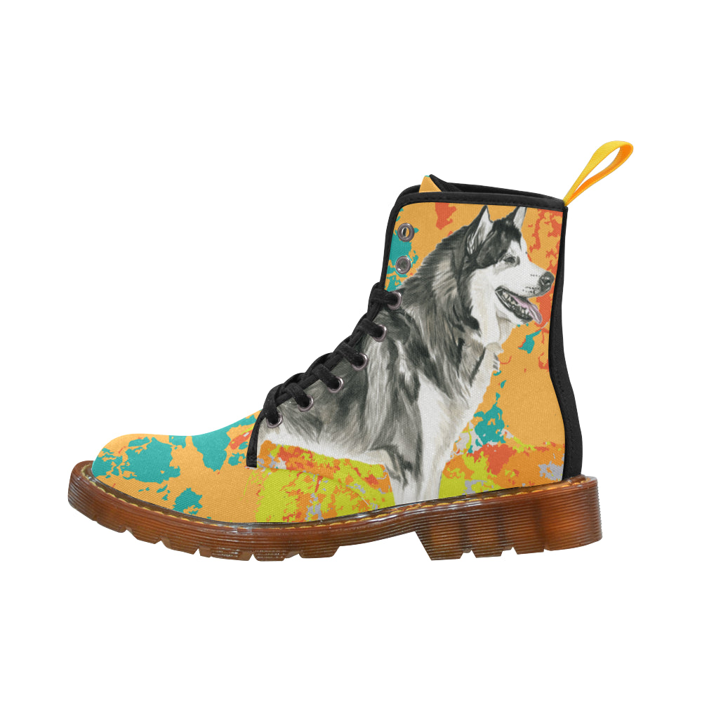 Alaskan Malamute Water Colour No.2 Black Boots For Men - TeeAmazing