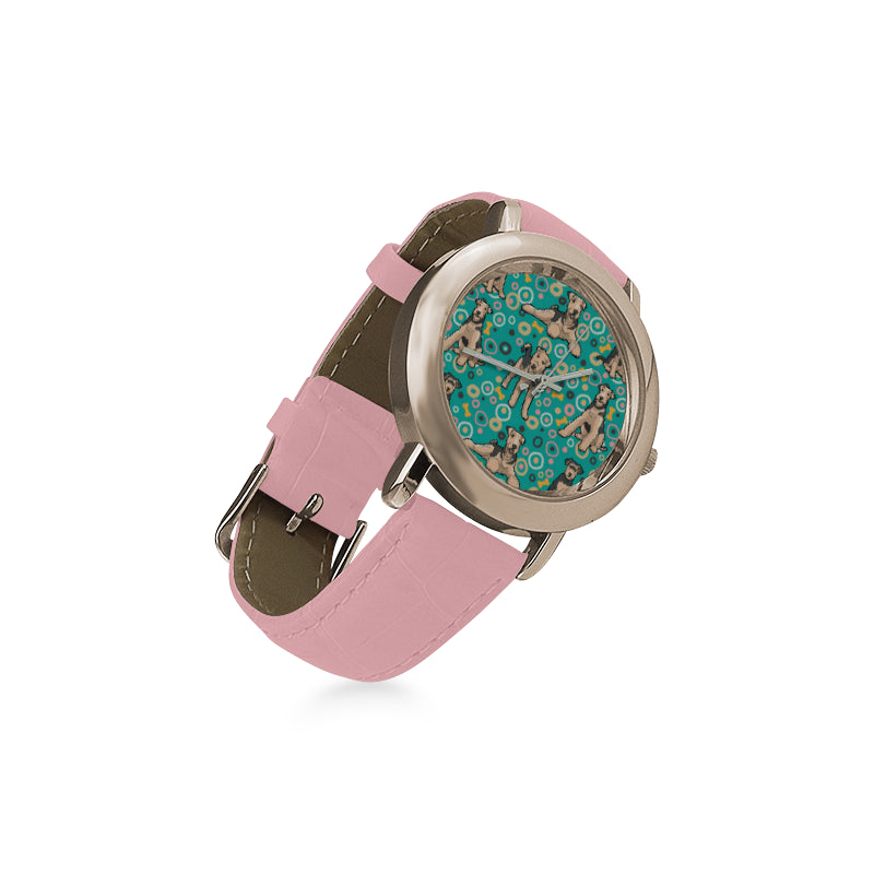 Airedale Terrier Pattern Women's Rose Gold Leather Strap Watch - TeeAmazing