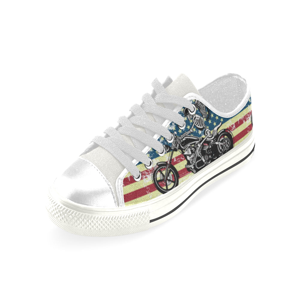 Skeleton Biker White Low Top Canvas Shoes for Kid - TeeAmazing