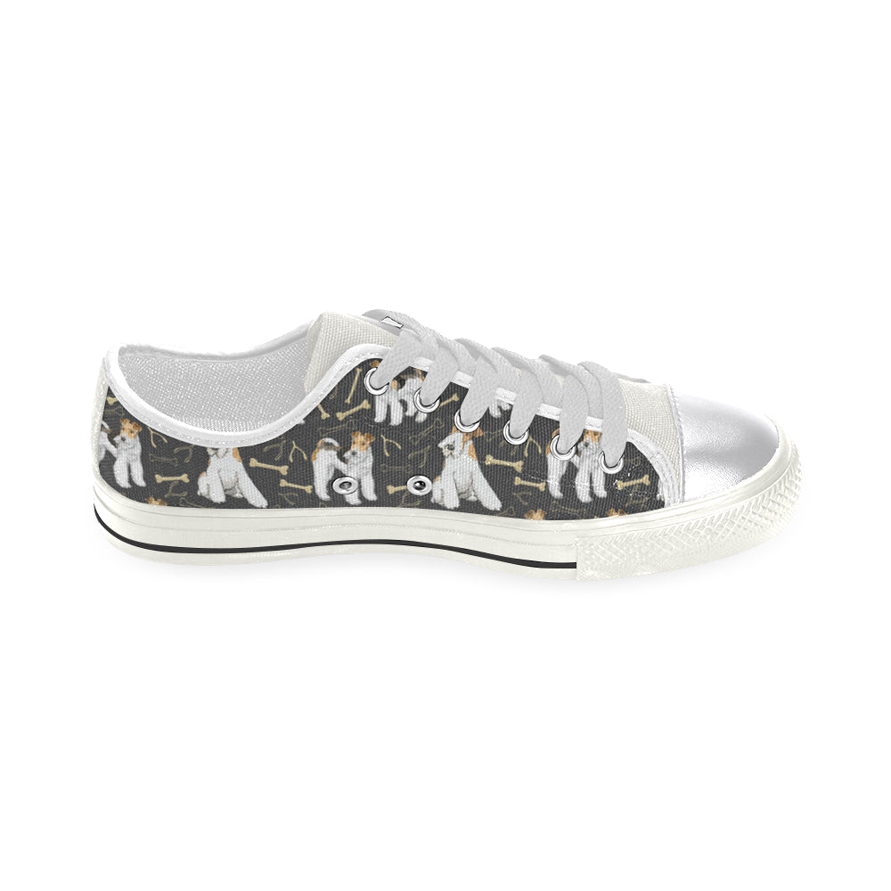 Wire Hair Fox Terrier White Canvas Women's Shoes/Large Size - TeeAmazing