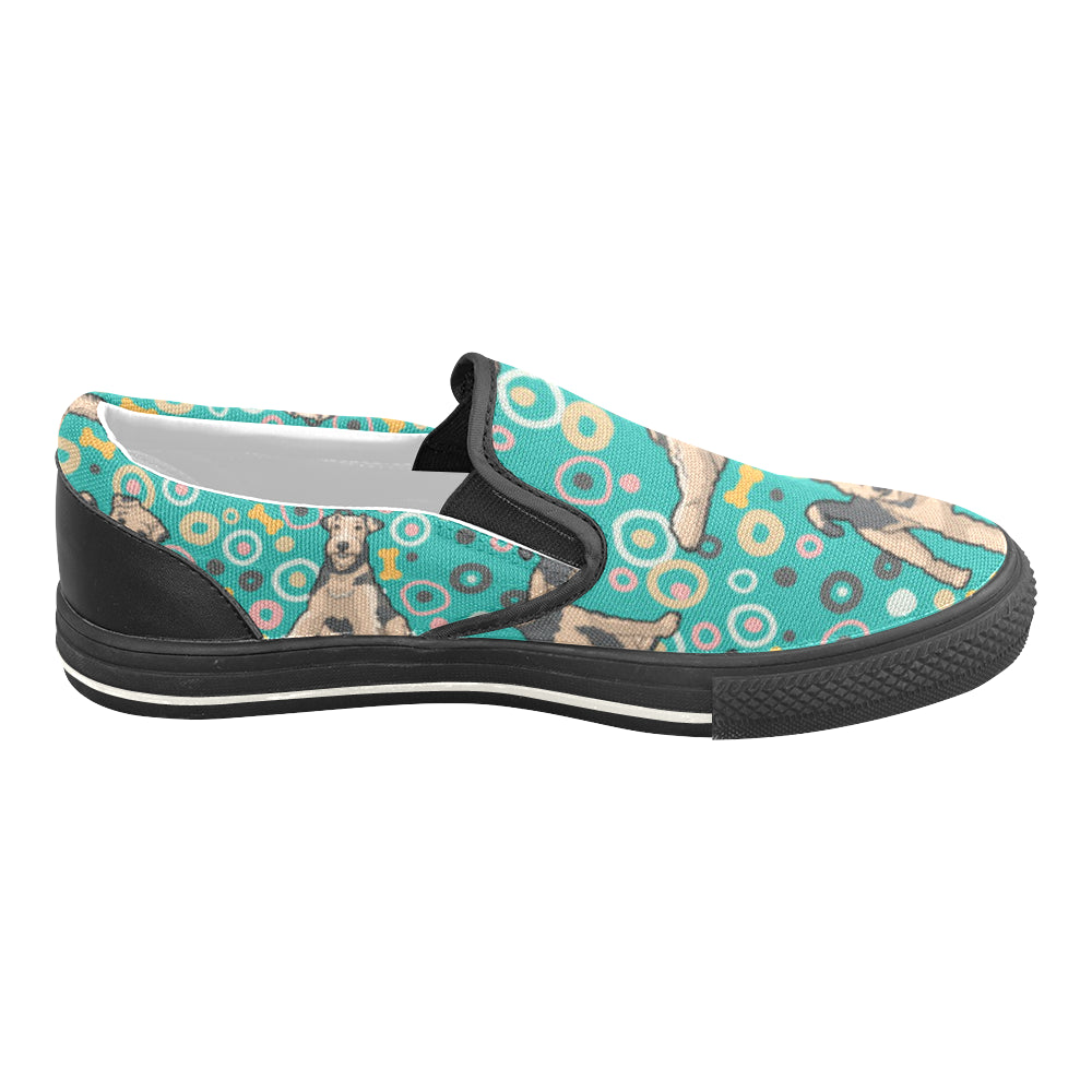 Airedale Terrier Pattern Black Women's Slip-on Canvas Shoes/Large Size (Model 019) - TeeAmazing