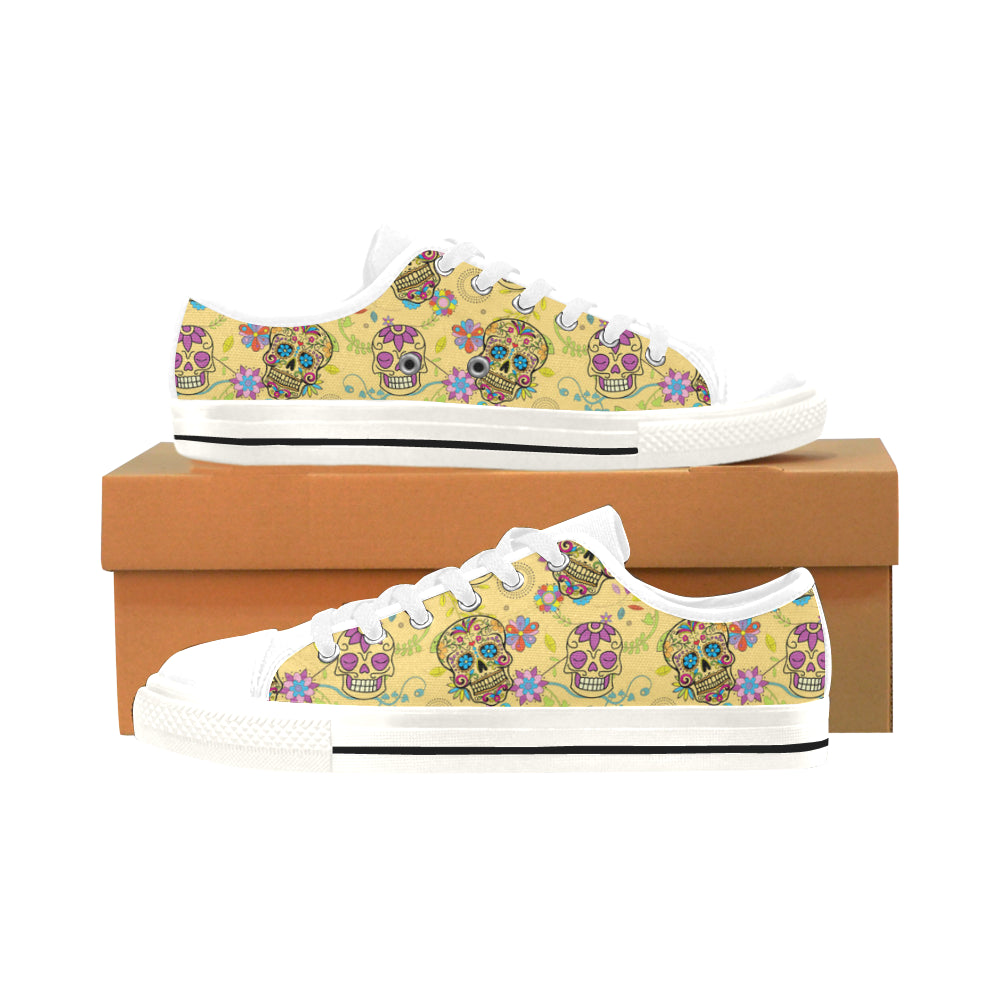 Sugar Skull White Men's Classic Canvas Shoes/Large Size - TeeAmazing