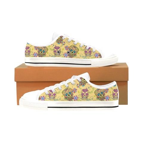 Sugar Skull White Men's Classic Canvas Shoes/Large Size (Model 018) - TeeAmazing