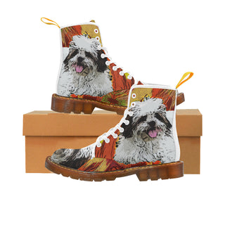 Lhasa Apso White Martin Boots For Women Model 1203H - TeeAmazing