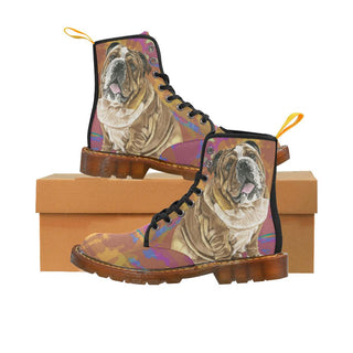 English Bulldog Water Colour No.2 Black Boots For Women - TeeAmazing