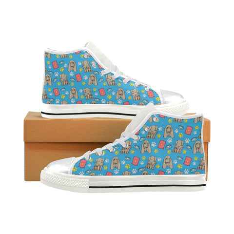 Bloodhound Pattern White Women's Classic High Top Canvas Shoes - TeeAmazing