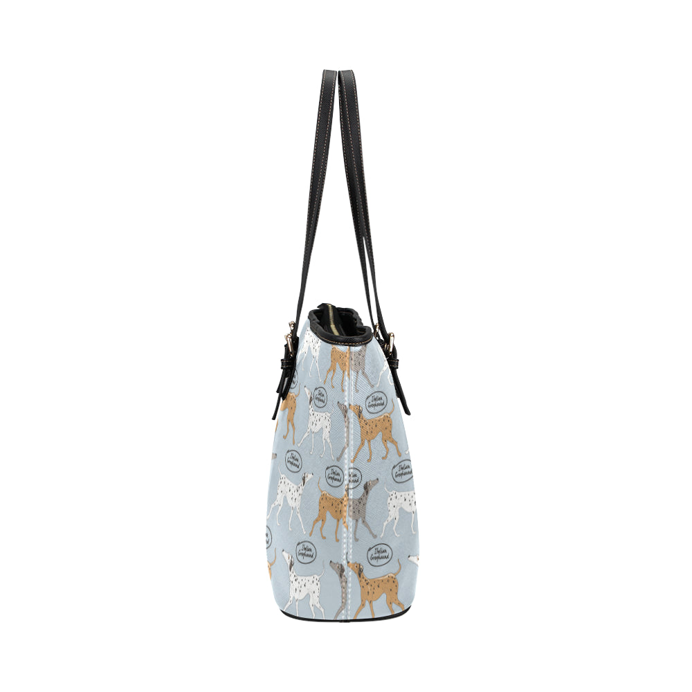 Italian Greyhound Pattern Leather Tote Bag/Small - TeeAmazing